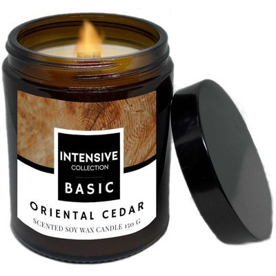 Intensive Collection Amber Basic natural soy wax scented candle wooden wick 150 g - Oriental Cedar