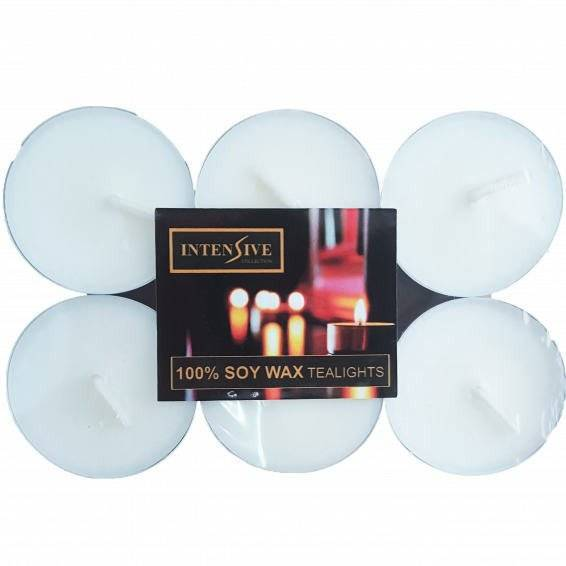 INTENSIVE COLLECTION pure soy wax unscented tealights 6 pcs